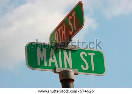Main Street on Blue Sky, Main Street Sign U.S.A.
