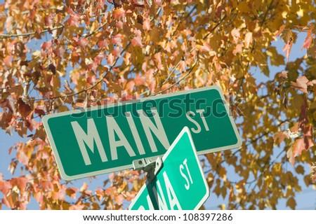 Main Street sign, New Hampshire, New England