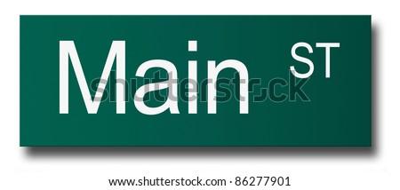 Main Street Sign. Wall Crash Concept.