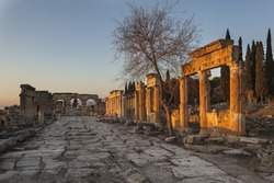 Main thoroughfare of roman Hierapolis with adjacent remains of buildings, Pamukkale, Turkey. UNESCO World Heritage