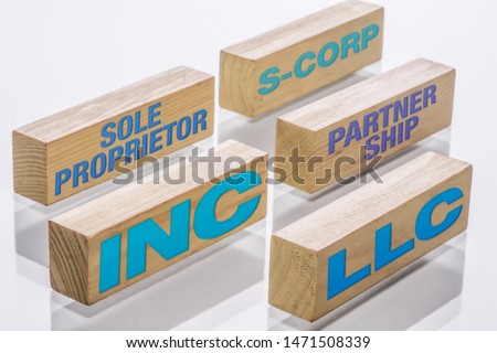 Main types of business formations including Sole proprietorship, S-corp, partnership, LLC and Incorporations, represented by building blocks. Photo stock ©