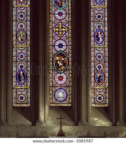 Main Window and Altar in Chetwode Parish Church (former Abbey) in Buckinghamshire, England