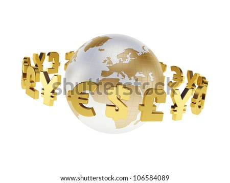 main world currencies, isolated 3d render