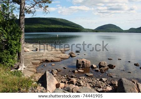 Maine scenic lake Eagle Lake at Acadia National Park