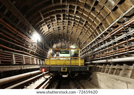 Maintenance vehicle in the tunnel of Prague subway.