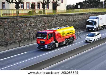 MAINZ,GERMANY-FEB 20:MAN oil truck on the highway on February 20,2015 in Mainz,Germany.MAN SE, formerly MAN AG, is a German mechanical engineering company and parent company of the MAN Group.
