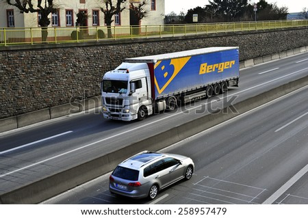 MAINZ,GERMANY-FEB 09:MAN truck on the highway on February 09,2015 in Mainz,Germany.MAN SE, formerly MAN AG, is a German mechanical engineering company and parent company of the MAN Group.