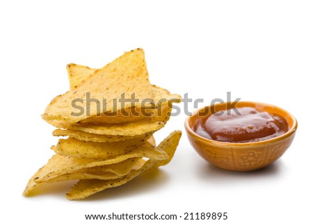 maize chips and salsa sauce isolated