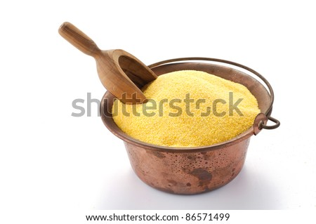 Maize flour in copper pot