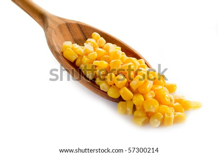 maize over spoon - stock photo