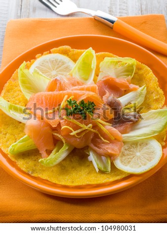 maize pancake with endive salad and smoked salmon