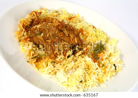 Majboos - meat cooked with rice and spices - is the traditional staple of Arabia. This contains lamb; chicken or fish are also used.