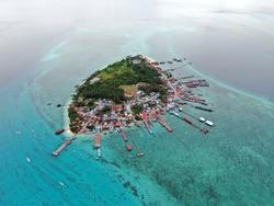 Majestic aerial drone view of Derawan Island, Berau, East Kalimantan, Indonesia