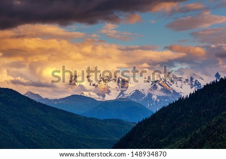 Majestic colorful sunset in the mountains landscape. Upper Svaneti, Georgia, Europe. Caucasus mountains. Beauty world. - Shutterstock ID 148934870