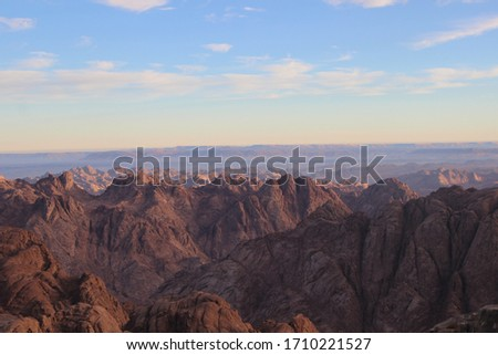 Majestic landscape from the highest mountains and in the middle of the towering rocky mountains of St. Catherine, Egypt