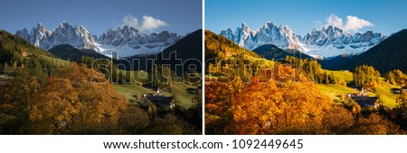 Majestic landscape in Santa Magdalena. Location Funes valley, Dolomiti Alps. Trentino, Italy, Europe. Image before and after. Original or retouch, example of photo editing process. Beauty of earth.