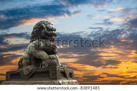 majestic lion statue with sunset glow