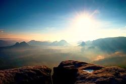 Majestic morning mountain landscape. Dramatic overcast sky. Saxony national park, Europe. Beauty world.