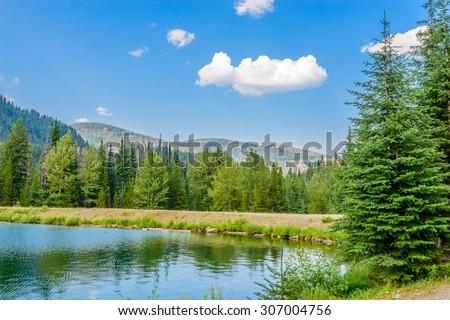 Majestic mountain lake in Canada. Lightning Lake in Manning Park in British Columbia. Lake Trail View.