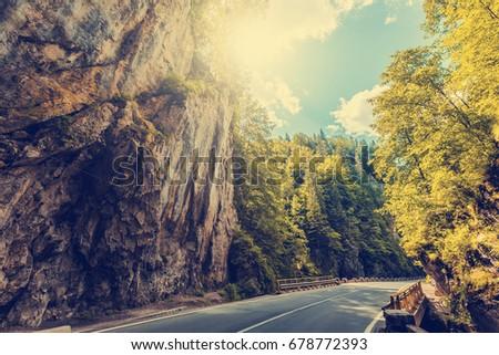 majestic mountain scenery. road ...