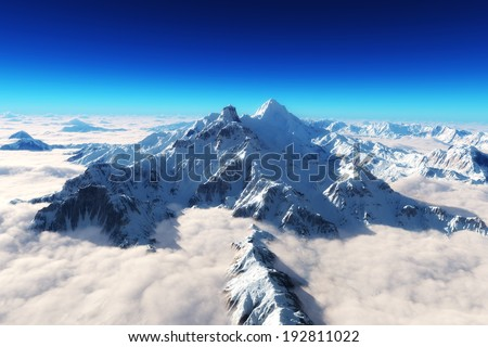 Stock Photo Majestic snow covered mountains background.