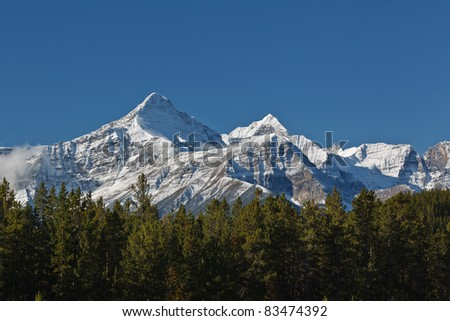 Majestic snowcapped mountains in the Canadian Rockies, Banff National Park, Alberta, Canada