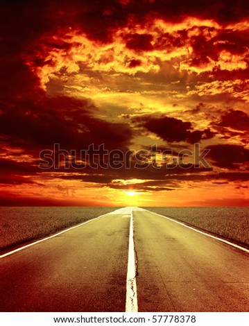 Majestic storm sunset and old road