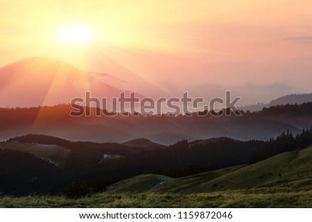 majestic summer dawn image, amazing sunrise scenery, awesome morning sunshine landscape, beautiful nature background  in the mountains, Carpathians, Ukraine, Europe travel