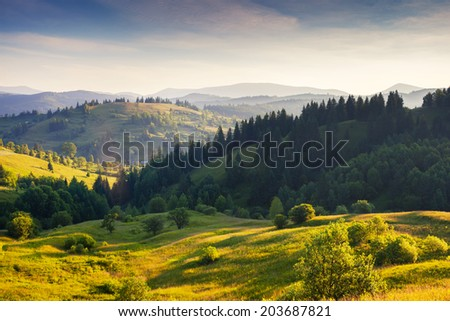 Majestic sunny hills under morning sky with clouds. Carpathian, Ukraine, Europe. - Shutterstock ID 203687821