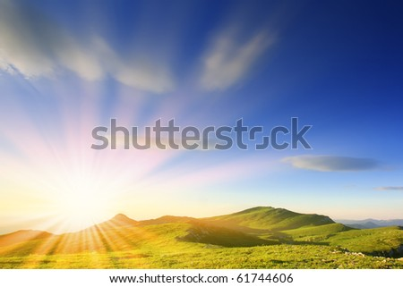majestic sunrise in the mountains landscape