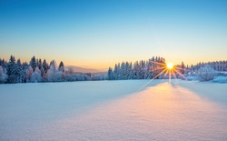 Majestic sunrise in the winter mountains landscape. High resolution image