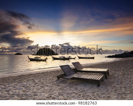 Majestic sunrise on a tropical island Koh Lipe in Thailand - stock photo