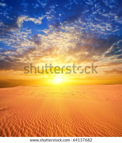majestic sunset in a desert
