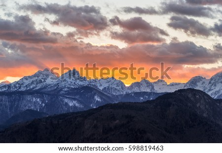 Majestic sunset in the mountains - Shutterstock ID 598819463