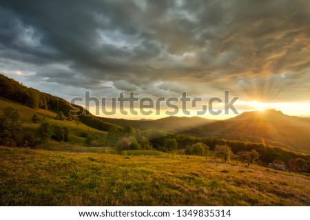 Majestic sunset in the mountains landscape. #1349835314