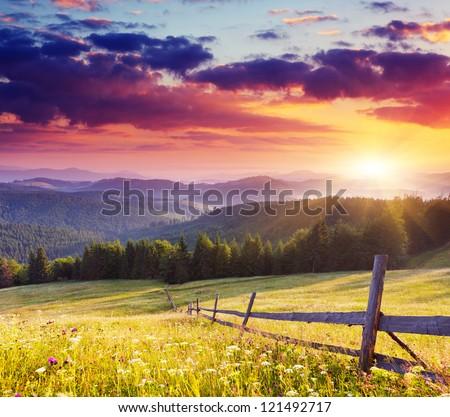 Majestic sunset in the mountains landscape.Carpathian, Ukraine.