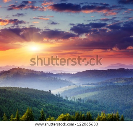 Majestic sunset in the mountains landscape.Carpathian, Ukraine. #122065630