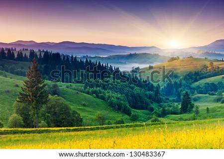 Majestic sunset in the mountains landscape. Carpathian, Ukraine, Europe. Beauty world. - Shutterstock ID 130483367