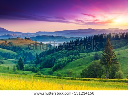 Majestic sunset in the mountains landscape. Carpathian, Ukraine, Europe. Beauty world. - Shutterstock ID 131214158