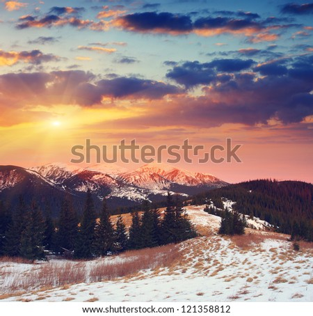 Majestic sunset in the mountains landscape. Dramatic sky. Carpathian, Ukraine.