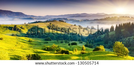 Majestic sunset in the mountains landscape. Dramatic sky. Carpathian, Ukraine, Europe. Beauty world. #130505714