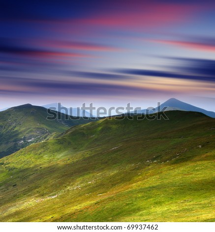 Majestic sunset in the mountains landscape. HDR image