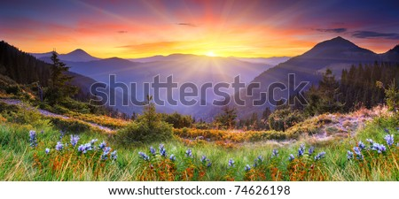 Stock Photo Majestic sunset in the mountains landscape. HDR image