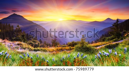 Majestic sunset in the mountains landscape. HDR image #75989779