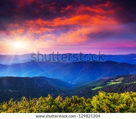 Majestic sunset in the mountains landscape. Transylvania, Carpathian, Ukraine. - stock photo