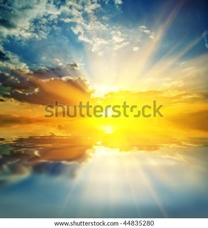 majestic sunset on a lake #44835280