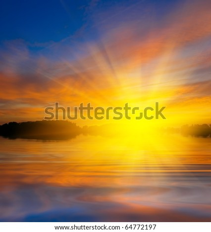 majestic sunset on a lake - stock photo
