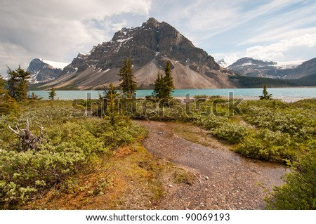 Majestic view of Bow Lake with lush greenery and snowy mountains in the background.