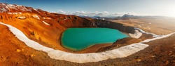Majestic Viti crater in Krafla volcanic area, Iceland. Tipical Icelandic nature landscape. Great view on azure lake in Viti crater. Iceland the country of many volkans, and Glaciers.