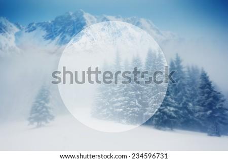 Majestic winter landscape glowing by sunlight. Dramatic wintry scene. Carpathian, Ukraine, Europe. Beauty world. Creative design. Retro filter. Instagram toning effect. Happy New Year! #234596731